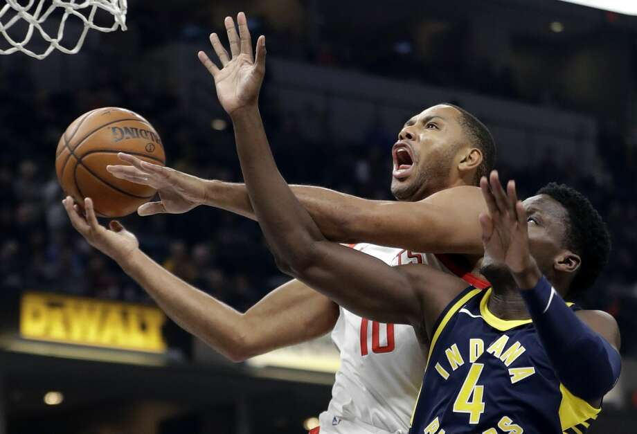 Houston Rockets' Eric Gordon (10) shoots against Indiana Pacers' Victor Oladipo (4) during the first half of an NBA basketball game, Sunday, Nov. 12, 2017, in Indianapolis. (AP Photo/Darron Cummings) Photo: Darron Cummings/Associated Press