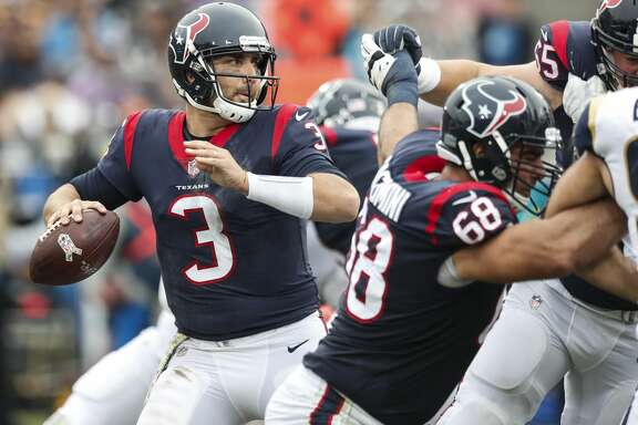 Houston Texans quarterback Tom Savage (3) drops back to pass against the Los Angeles Rams during the second quarter of an NFL football game at the Los Angeles Memorial Coliseum on Sunday, Nov. 12, 2017, in Los Angeles, Mass. ( Brett Coomer / Houston Chronicle )