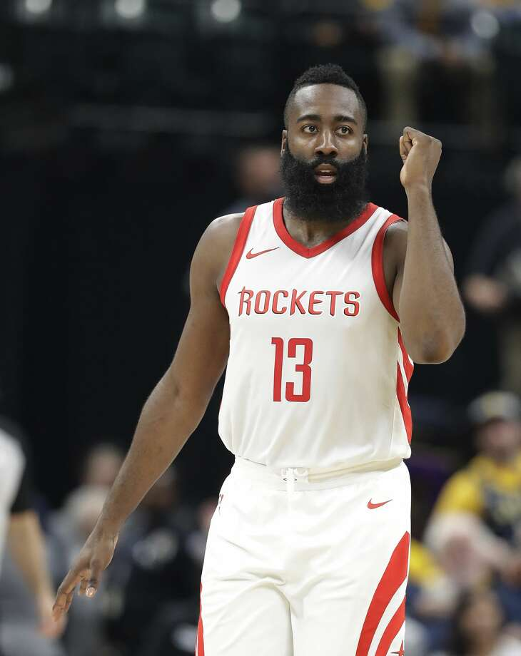 Houston Rockets' James Harden reacts after a basket during the second half of an NBA basketball game against the Indiana Pacers, Sunday, Nov. 12, 2017, in Indianapolis. (AP Photo/Darron Cummings) Photo: Darron Cummings/Associated Press