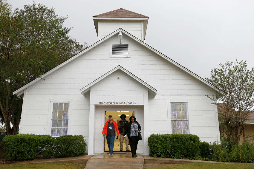 Media tour the First Baptist Church of Sutherland Springs Memorial Sunday Nov. 12, 2017. Twenty-six people were killed at the church Nov. 5, 2017 during a shooting.