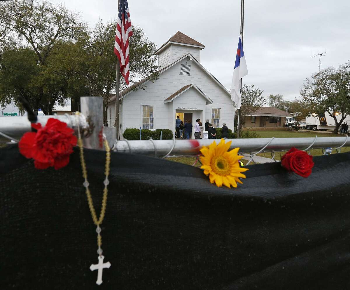 Mourners attend the memorial service for victims of the mass shooting in the First Baptist Church of Sutherland Springs.