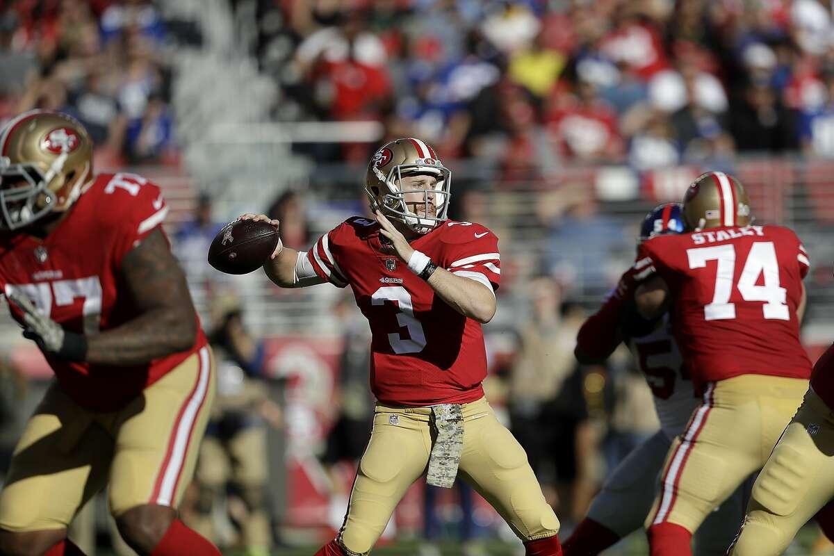 San Francisco 49ers quarterback C.J. Beathard (3) passes against the New York Giants during the first half of an NFL football game in Santa Clara, Calif., Sunday, Nov. 12, 2017. (AP Photo/Marcio Jose Sanchez)