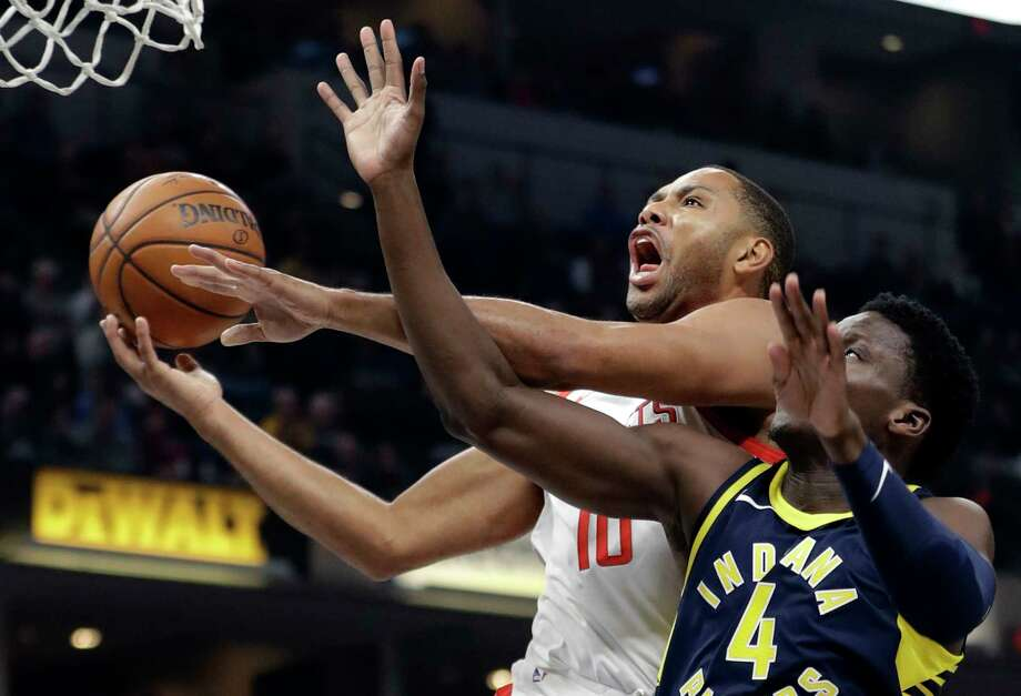 Houston Rockets' Eric Gordon (10) shoots against Indiana Pacers' Victor Oladipo (4) during the first half of an NBA basketball game, Sunday, Nov. 12, 2017, in Indianapolis. (AP Photo/Darron Cummings) Photo: Darron Cummings, STF / Copyright 2017 The Associated Press. All rights reserved.