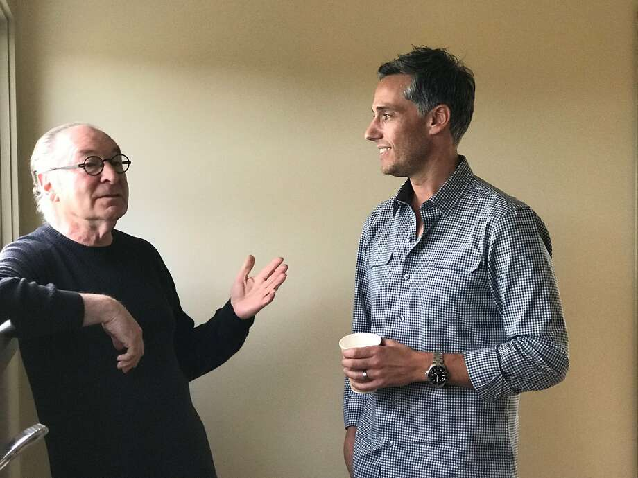 Stanley Saitowitz (left) and fellow architect Jess Field exchange ideas for post-wildfire design concepts. Photo: J.K. Dineen