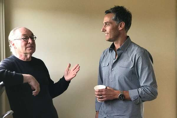 Stanley Saitowitz (left) and fellow architect Jess Field talk about�post-wildfire design concerns in Napa on Sunday, Nov. 12.