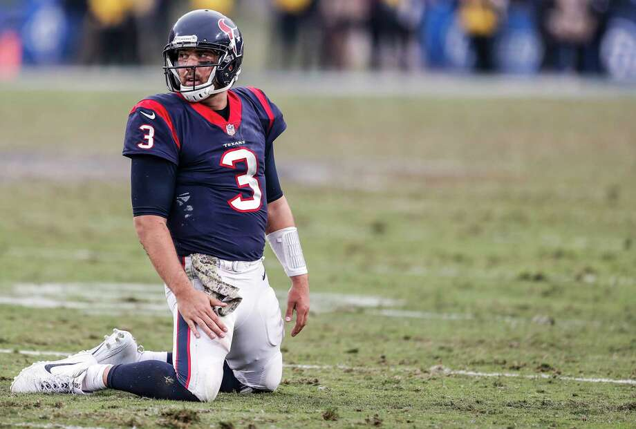 Houston Texans quarterback Tom Savage (3) kneels on the field after throwing an interception against the Los Angeles Rams during the fourth quarter of an NFL football game at the Los Angeles Memorial Coliseum on Sunday, Nov. 12, 2017, in Los Angeles, Mass. ( Brett Coomer / Houston Chronicle ) Photo: Brett Coomer, Staff / © 2017 Houston Chronicle