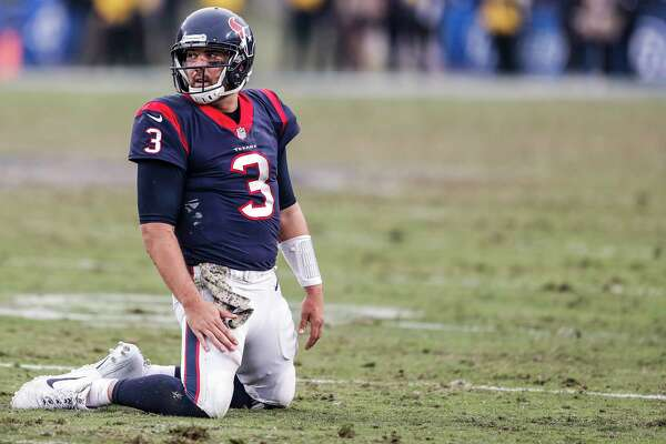 8a50b5649 1of56Houston Texans quarterback Tom Savage (3) kneels on the field after  throwing an interception against the Los Angeles Rams during the fourth  quarter of ...