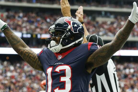 Houston Texans wide receiver Braxton Miller (13) celebrates his 1-yard touchdown reception against the Cleveland Browns during the second quarter of an NFL football game at NRG Stadium on Sunday, Oct. 15, 2017, in Houston. ( Brett Coomer / Houston Chronicle )