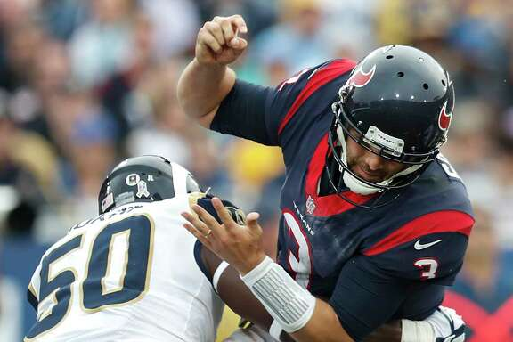 Texans quarterback Tom Savage committed four turnovers Sunday, stalling any offensive momentum, and was saved an interception return for a touchdown by a defensive holding penalty.