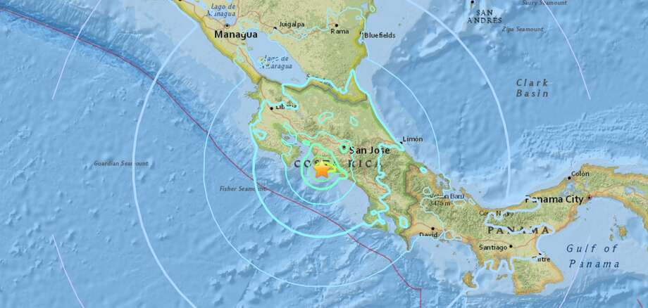 A preliminary magnitude 6.5 earthquake was reported Sunday night near Parrita, Costa Rica. Photo: Screenshot/USGS