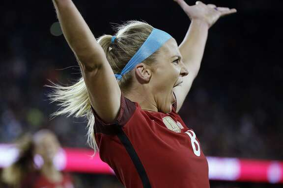United States midfielder Julie Ertz (8) reacts after scoring a goal during the first half of an international friendly women's soccer match against Canada, Sunday, Nov. 12, 2017, in San Jose, Calif. (AP Photo/Eric Risberg)