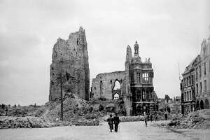 World War I, The town hall and the belfry of Arras in ruins, seen from the main square (Pas-de-Calais). (Photo by Roger Viollet/Getty Images)