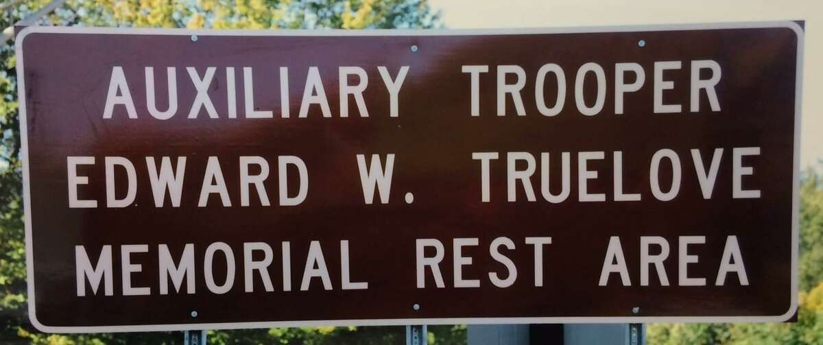 The eastbound I-84 rest area near Exit 28 in Southington is dedicated to Connecticut Auxiliary Trooper Edward W. Truelove, He was was killed on Nov. 13, 1992 while helping a disabled motorist on I-84.