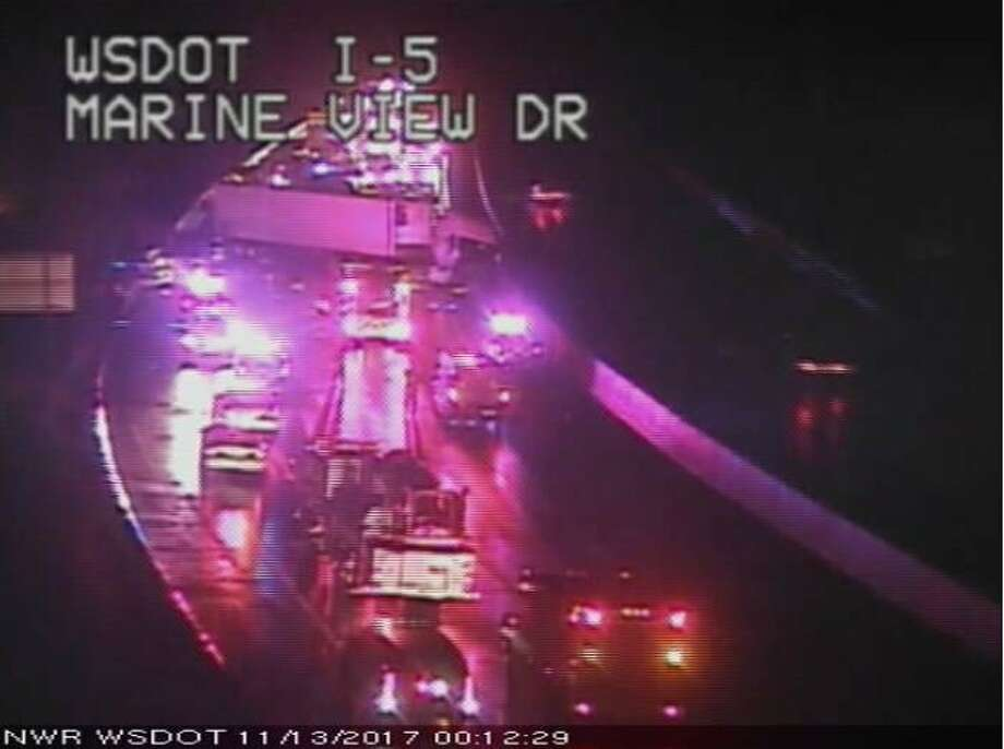 A fatal crash shut down southbound Interstate 5 for hours early Monday morning. Photo: WSDOT