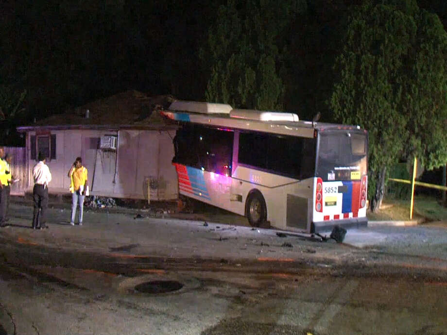 A screenshot of video footage of a home in the 7200 block of Tierwester in Houston, Texas on Nov. 12, 2017. A Houston Metro bus crashed into that home, injuring multiple people. Photo: Metro Video Services, LLC/For The Houston Chronicle