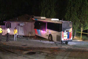A screenshot of video footage of a home in the 7200 block of Tierwester in Houston, Texas on Nov. 12, 2017. A Houston Metro bus crashed into that home, injuring multiple people.