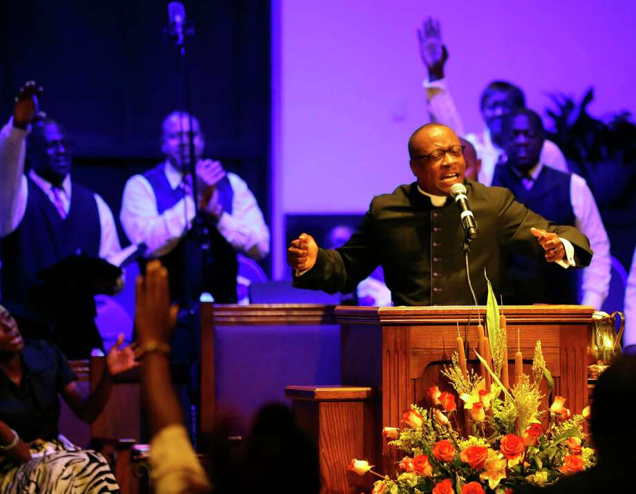 Rev. Dr. Marcus D. Cosby, Senior Pastor gives his sermon during church services at Wheeler Baptist Church on Sunday, Nov. 12, 2017, in Houston. Photo: Karen Warren, Houston Chronicle / © 2017 Houston Chronicle