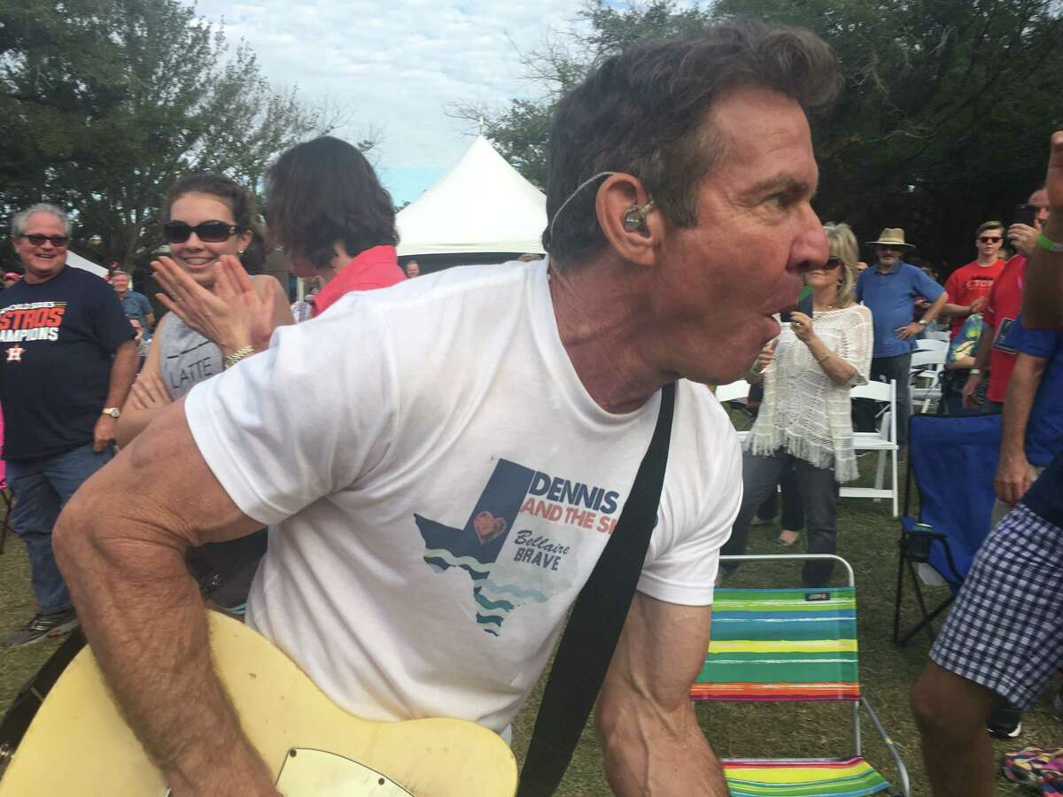 Dennis Quaid and his band, the Sharks, helped raise $100,000 for first responders affected by Hurricane Harvey at the Bellaire Brave concert and block party Saturday, Nov. 11.