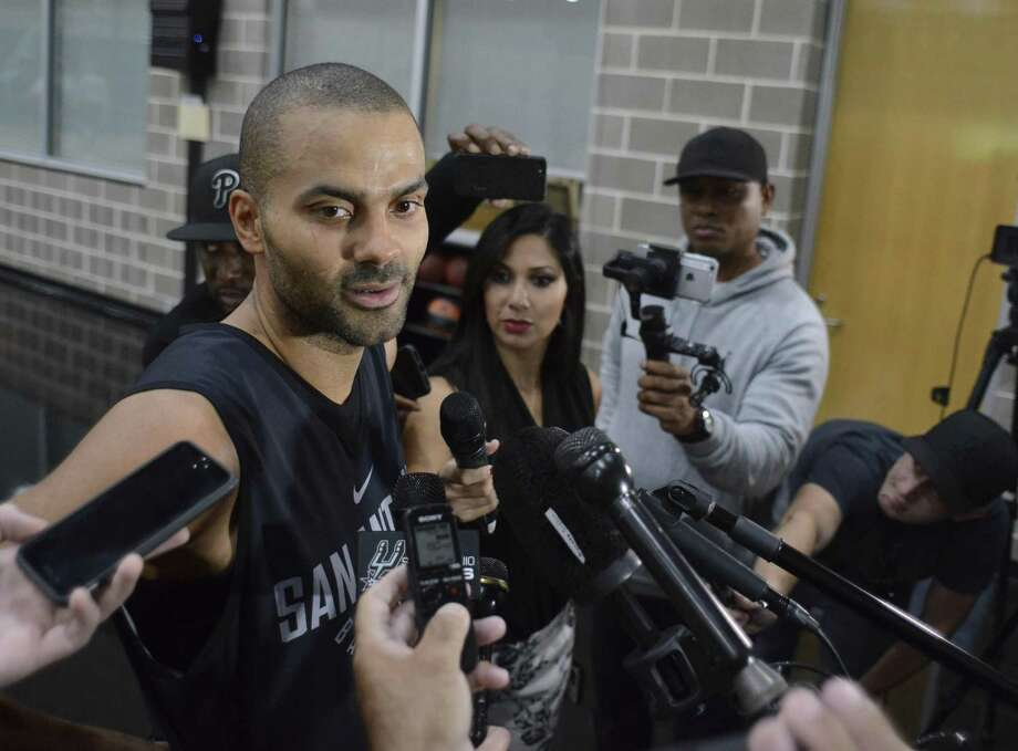 San Antonio Spurs point guard Tony Parker speaks with the press at the team's practice facility on Friday, Oct. 27, 2017. Photo: Billy Calzada, Staff / San Antonio Express-News / San Antonio Express-News