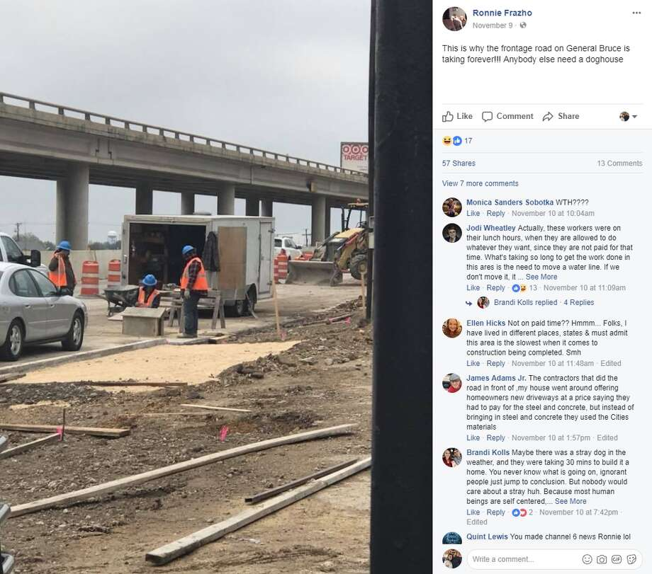 "Ronnie Frazho: ""This is why the frontage road on General Bruce is taking forever!!! Anybody else need a doghouse"" Photo: Facebook/Ronnie Frazho"