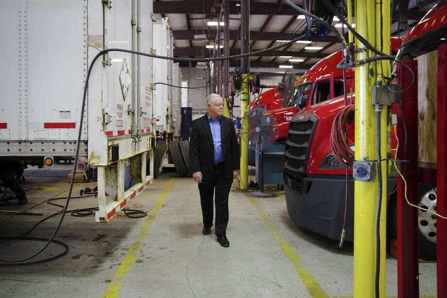 """Max Fuller, chief executive of US XPress, walks through company's truck shop in Tunnel Hill, Ga., Oct. 19, 2017. Fuller plans to upgrade his trucks to have automated lane steering in three years. """"I'm putting building blocks into my trucks that each year gets us closer and closer,"""" he said. Photo: KEVIN D. LILES /NYT / NYTNS"""