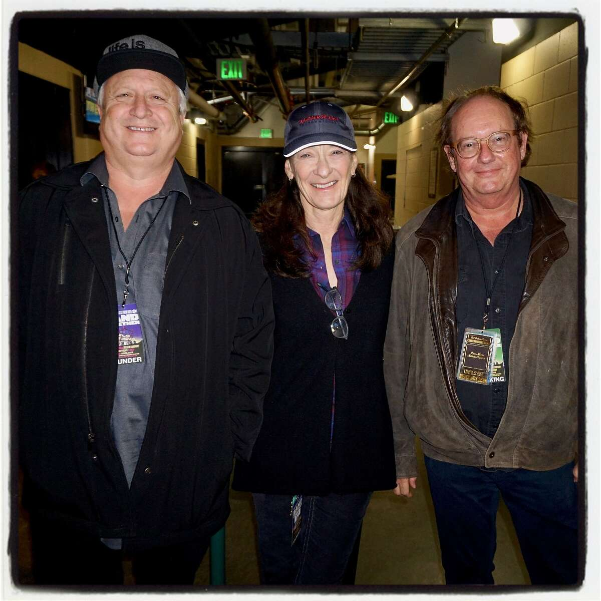 Another Planet cofounders Gregg Perloff and Sherry Wasserman (left) with Live Nation VP Michael Bailey at AT&T Park for Band Together. Nov. 9, 2017.