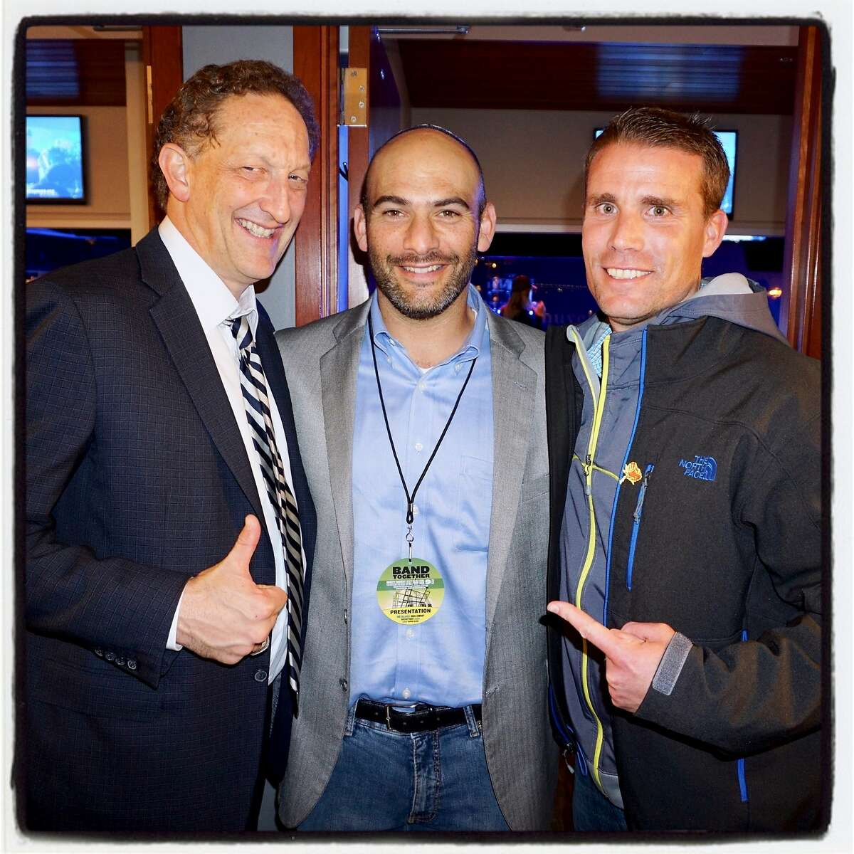 Giants CEO Larry Baer (left) with Rabbi Ryan Bauer and Calif. Sen. Mike McGuire at AT&T Park for Band Together. Nov. 9, 2017.