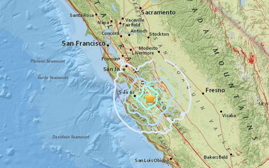 The United States Geological Survey reports a preliminary magnitude 4.7 earthquake struck near Gonzales, California on Monday. Photo: USGS