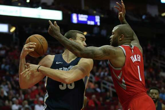 Houston Rockets forward PJ Tucker (4) gets the rebound ball away from Memphis Grizzlies center Marc Gasol (33) during the second quarter of an NBA game at Toyota Center on Saturday, Nov. 11, 2017, in Houston. ( Yi-Chin Lee / Houston Chronicle )
