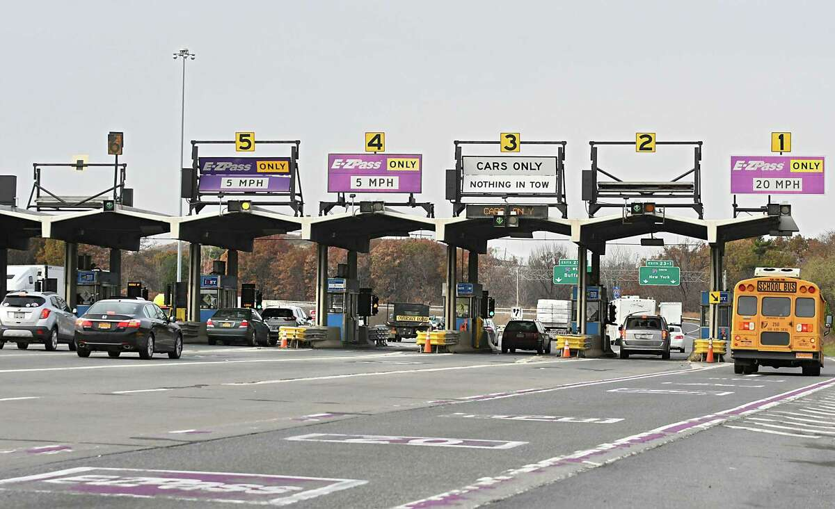 Cars and trucks pass through the Thruway exit 24 toll booths on Monday, Nov. 13, 2017 in Albany, N.Y. (Lori Van Buren / Times Union)