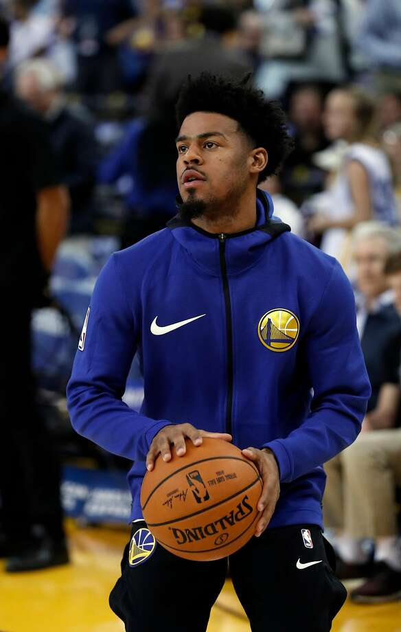 Warriors Quinn Cook during warm up as the Golden State Warriors prepare to take on the Washington Wizards during the first half in NBA action at Oracle Arena in Oakland, Ca. on Friday October 27, 2017. Photo: Michael Macor, The Chronicle