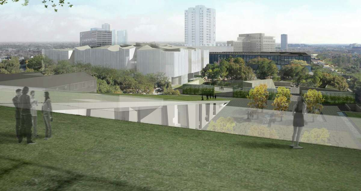 A view of the Museum of Fine Arts, campus as it will eventually be seen from the roof of the new Glassell School of Art, looking toward the future Nancy and Rich Kinder Building, the Cornelia Wiess Law Building, the Cullen Sculpture Garden and the new Brown Foundation Plaza.