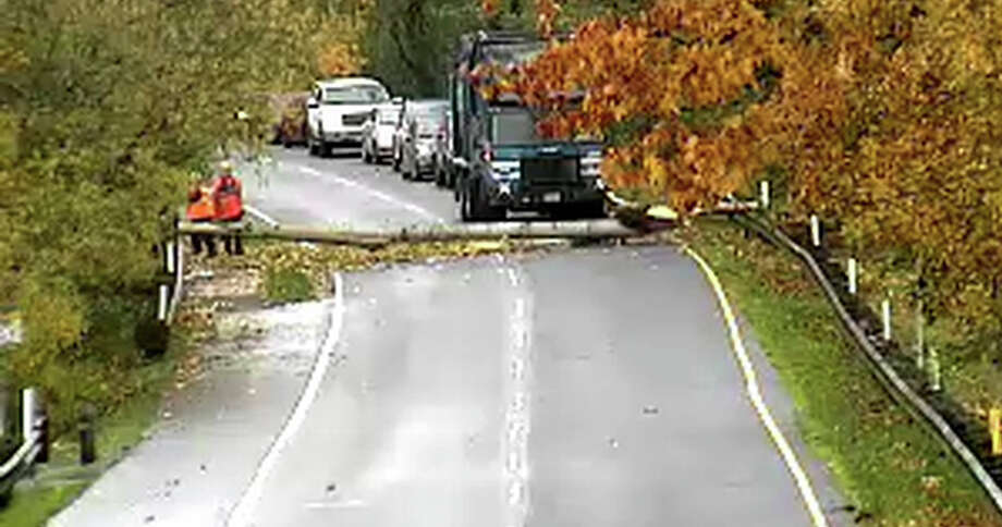 A Republic Services garbage collection crew cleared the way Monday in Bellevue after a tree was downed on a road there. Photo: City Of Bellevue
