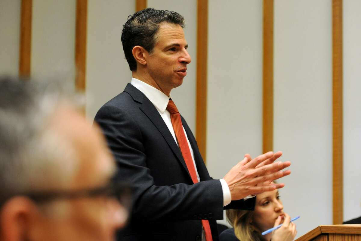 Attorney Joshua Koskoff, who represents a group of families of the Sandy Hook Elementary school shooting victims, speaks during a hearing in Superior Court in Bridgeport in 2016 on a wrongful death lawsuit against rifle maker Remington Arms over the Sandy Hook Elementary School massacre. (Ned Gerard/The Connecticut Post via AP, Pool)
