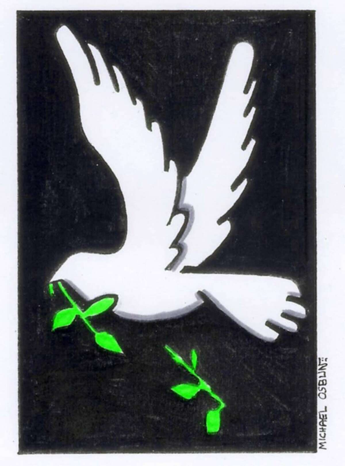 This artwork by Michael Osbun relates to broken hopes for peace in the Middle East.