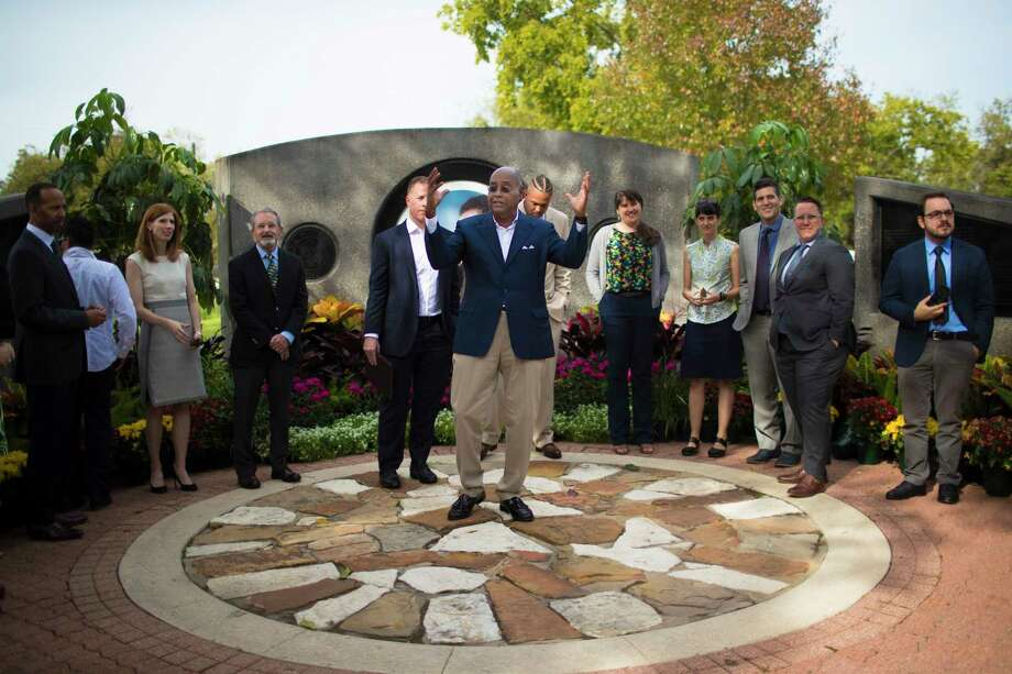 Harris County Commissioner Rodney Ellis talks about the Park-Smart Precinct One, surrounded by members of the project's steering committee, at Mickey Leland Memorial Park. Photo: Marie D. De Jesus, Houston Chronicle / © 2017 Houston Chronicle