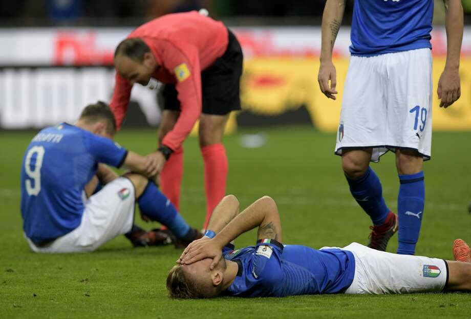 Italy's forward Ciro Immobile reacts at the end of the FIFA World Cup 2018 qualification football match between Italy and Sweden, on November 13, 2017 at the San Siro stadium in Milan. Italy failed to reach the World Cup for the first time since 1958 on Monday as they were held to a 0-0 draw in the second leg of their play-off at the San Siro by Sweden, who qualified with a 1-0 aggregate victory. Photo: MIGUEL MEDINA/AFP/Getty Images