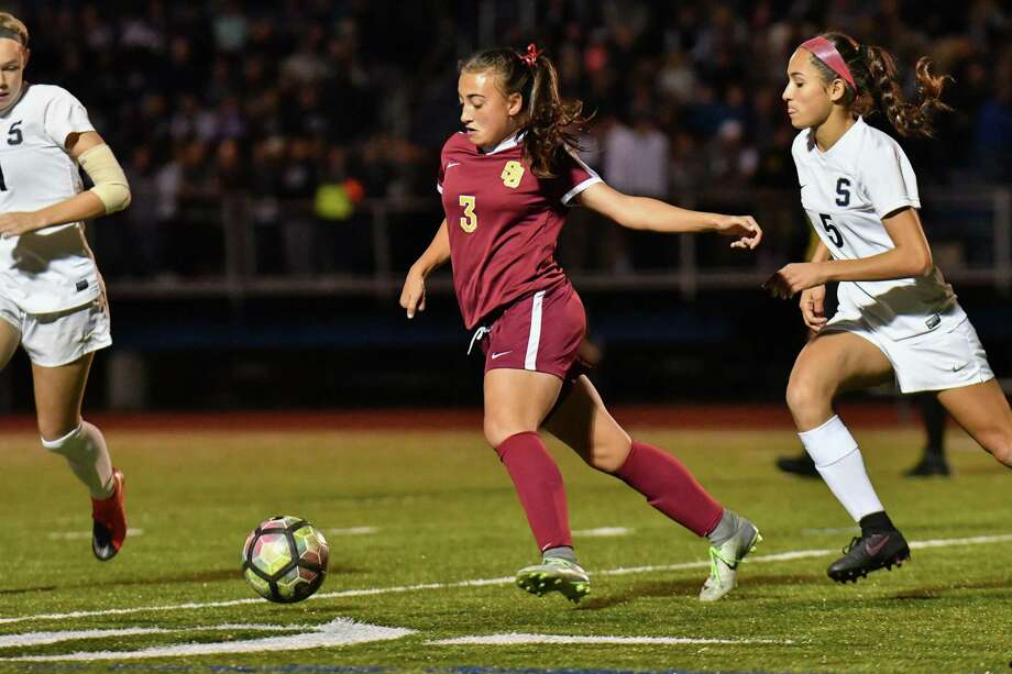 FCIAC Girls Soccer Championship Game action between the St. Joseph Cadets and the Staples Wreckers played at Fairfield Ludlowe High School on Friday November 3, 2017 in Fairfield, Connecticut. Photo: Gregory Vasil / For Hearst Connecticut Media / Connecticut Post Freelance