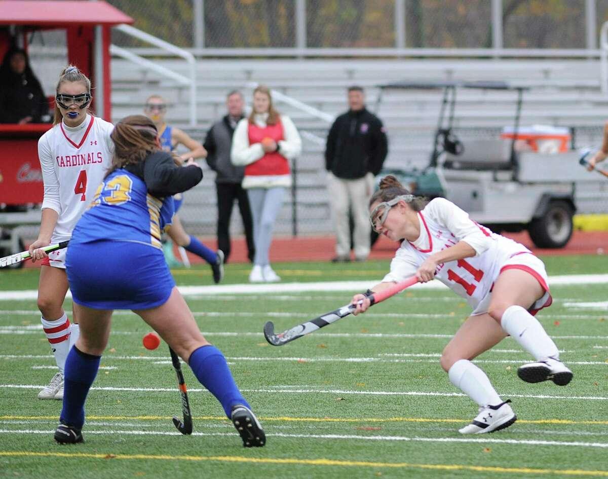 Girls high school field hockey playoff game between Newtown High School and Greenwich High School at Greenwich, Conn., Wednesday, Nov. 8, 2017.