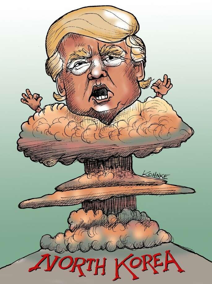 This artwork by Jennifer Kohnke refers to Donald Trump's threats to North Korea. Photo: Jennifer Kohnke