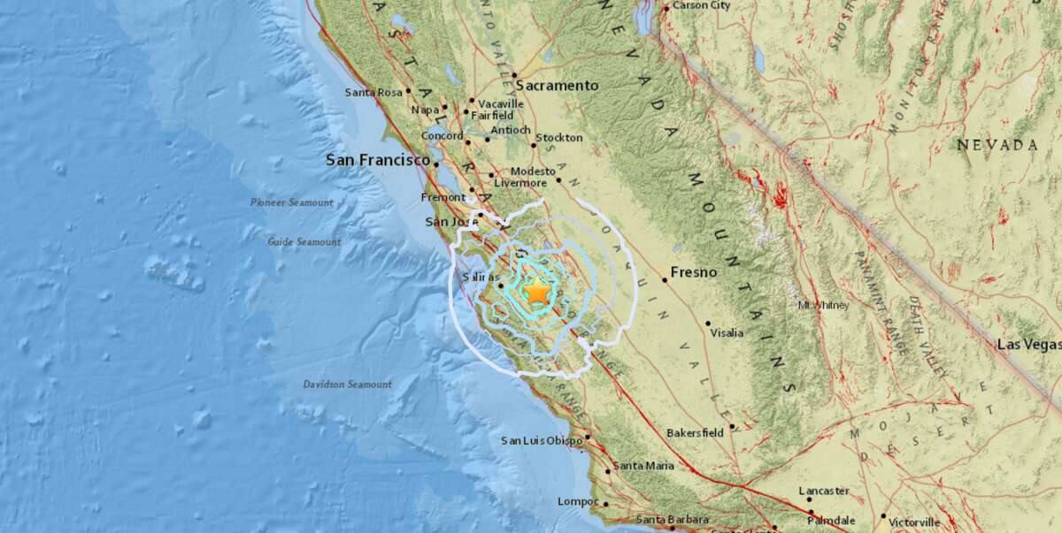 A 4.7 magnitude earthquake and a series of smaller aftershocks shook Monterey County Monday, officials said. Screenshot/USGS