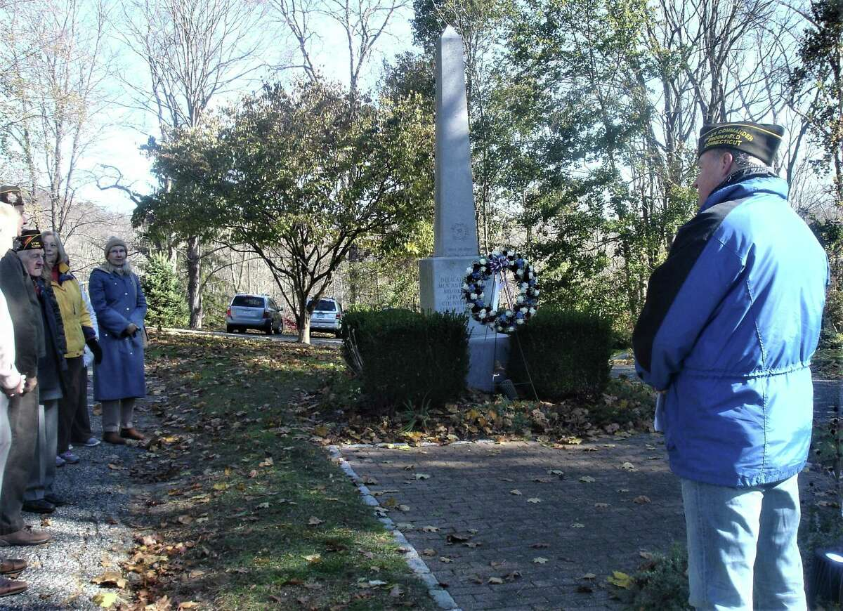 Joseph Beal, commander of the Brookfield VFW, at the Veterans Day ceremony on Saturday morning.