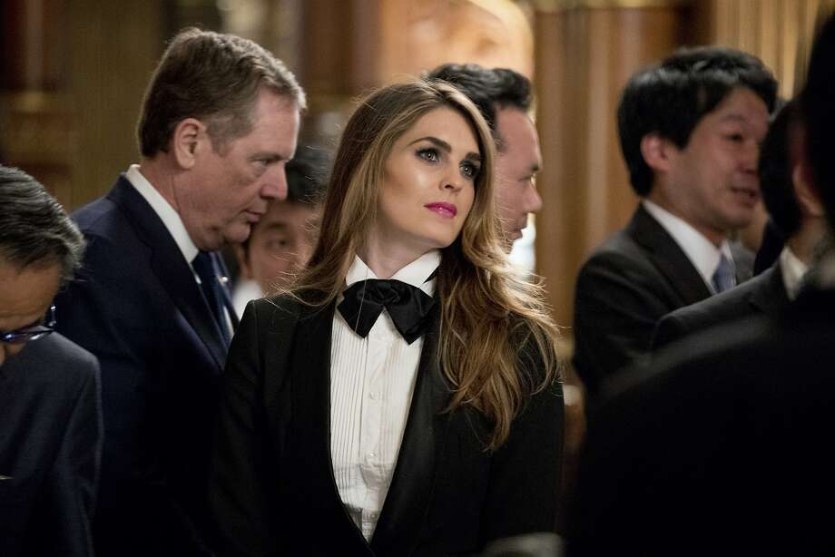 President Donald Trump's White House Director of Strategic Communications Hope Hicks arrives at a state banquet at the Akasaka Palace, Monday, Nov. 6, 2017, in Tokyo. Trump is on a five country trip through Asia traveling to Japan, South Korea, China, Vietnam and the Philippines. (AP Photo/Andrew Harnik) Photo: Andrew Harnik, Associated Press