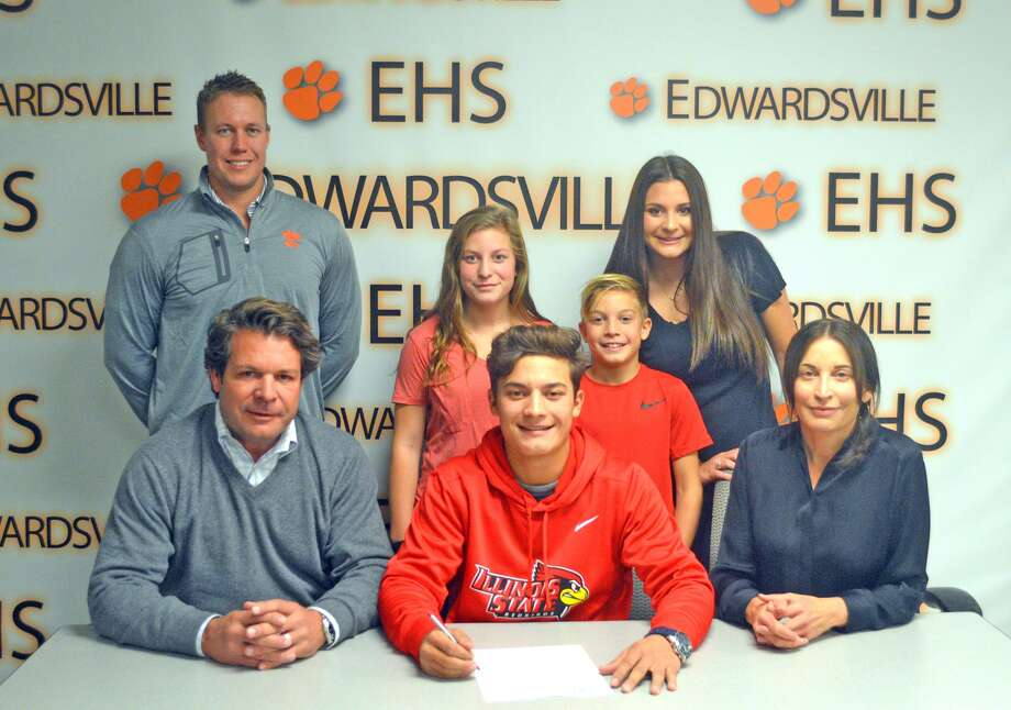 Edwardsville senior Ben Tyrrell signed to play golf at Illinois State. In the front row, from left to right, are father Pat Tyrrell, Ben Tyrrell and mother Stacey Tyrrell. In the back row, from left to right, are EHS coach Adam Tyler, sister Evelyn Tyrrell, brother Remy Tyrrell and sister Ellery Tyrrell.