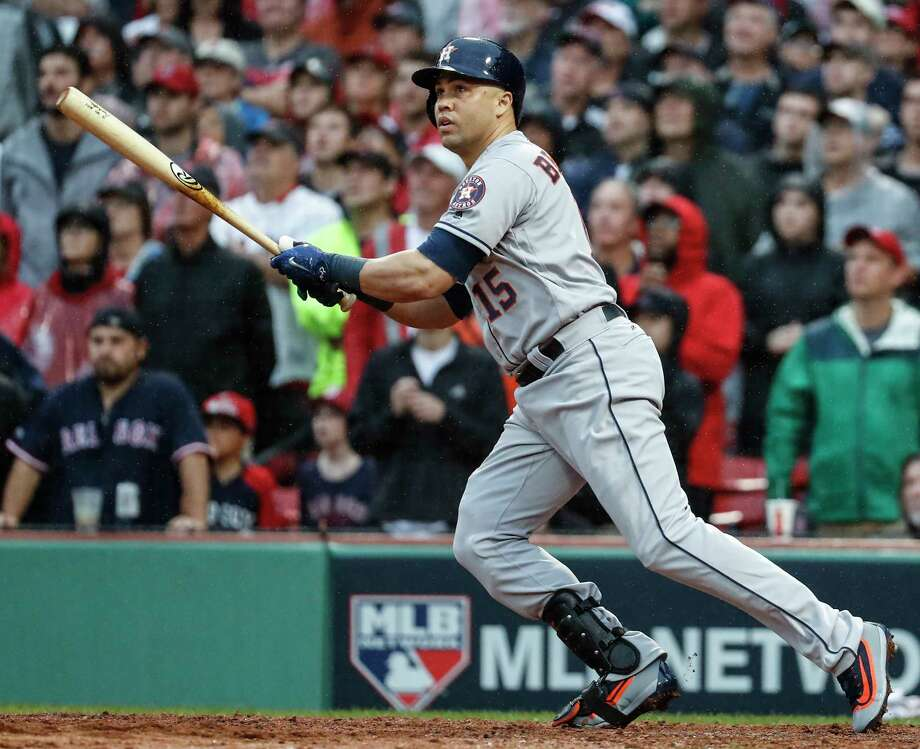 Houston Astros pinch hitter Carlos Beltran hits an RBI double during the ninth inning of Game 4 of the ALDS against the Boston Red Sox at Fenway Park on Monday, Oct. 9, 2017, in Boston. ( Karen Warren / Houston Chronicle ) Photo: Karen Warren, Staff / © 2017 Houston Chronicle