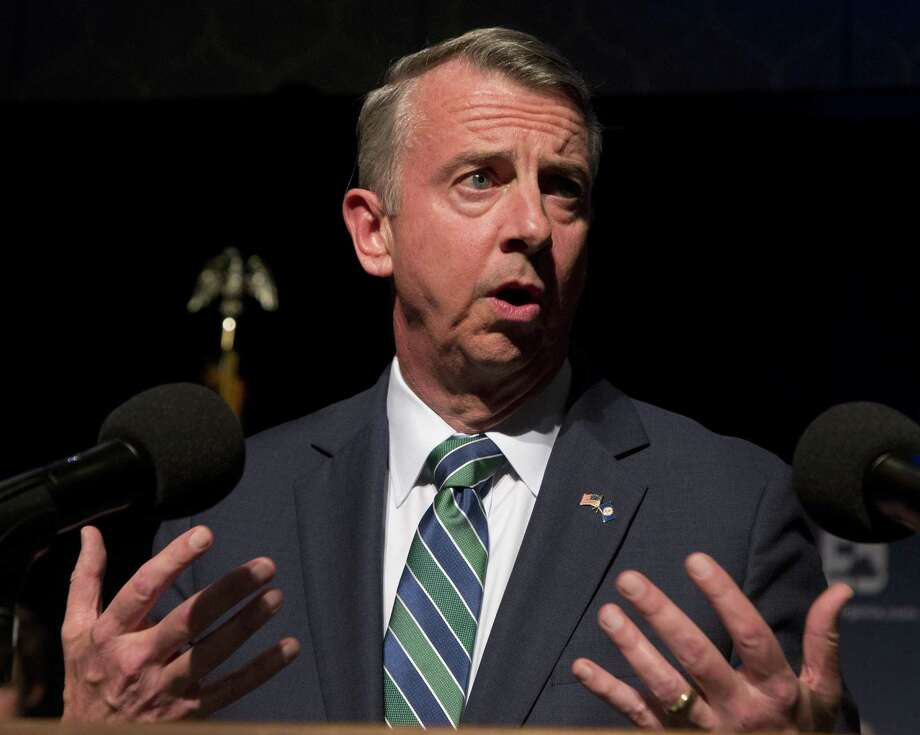 Republican gubernatorial candidate Ed Gillespie gestures as he delivers a concession speech during an election party in Richmond, Va., Nov. 7. He tried both ways — distancing himself from Trump and touting some of his issues. It didn't work. Photo: Steve Helber /Associated Press / Copyright 2017 The Associated Press. All rights reserved.