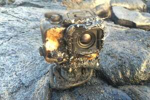 A GoPro camera was engulfed by lava on Kilauea volcano. It managed to keep recording the entire time.  Credit: Kilauea EcoGuides