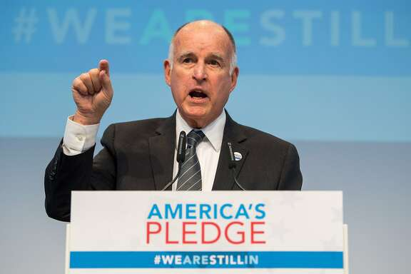 "BONN, GERMANY - NOVEMBER 11: California Governor Jerry Brown, talks during a discussion at the America's Pledge launch event at the U.S. ""We Are Still In"" pavilion at the COP 23 United Nations Climate Change Conference on November 11, 2017 in Bonn, Germany. America's Pledge is a report detailing the efforts of U.S. states, cities and businesses to keep America on line in fulfilling goals towards carbon reduction set out by the Paris Climate Agreement. U.S. President Donald Trump has announced that the U.S. is withdrawing from the accord and the White House is sending its own delegation of fossil fuel supporters to the COP 23 conference next week to make the case for the continued role of coal and petroleum in world energy needs. (Photo by Lukas Schulze/Getty Images)"