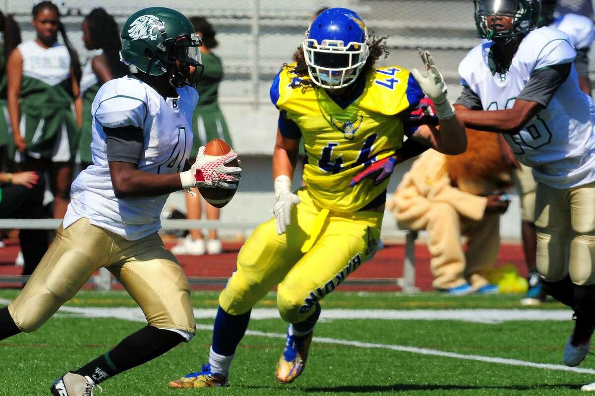 Harding High School's Aaron Kearney (44) in football action against Bassick in Bridgeport, Conn. Sept. 17, 2016. Credit:Christian Abraham / Hearst Connecticut Media