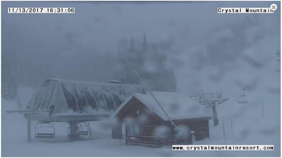 Snow was beginning to fall heavily Monday afternoon at Crystal Mountain, where upwards of 50 inches was forecast through the week. Snow was expected to fall all over the Cascades this week, with more than 3 feet in many areas through Wednesday. Photo: Crystal Mountain Resort